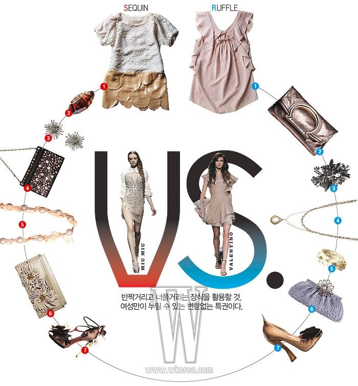 왼쪽 위부터 1.스팽글 장식과 벌룬소매가조화를 이룬 미니 드레스는 제인 송제품. 가격 미정.  2.반사 효과가두드러진 뱅글은버버리제품. 가격 미정.  3.눈결정체 모양의 귀고리는 수엘 제품. 5백만원대.  4. 크고 작은원석 장식이 화려한 미니 백은랑방컬렉션 제품. 82만5천원.  5.원석을튤로 감싸 모양을 만든목걸이는 프라이빗아이콘 제품. 가격 미정.  6.주름 장식으로 꽃 모양을만든클러치는 다이앤 폰 퍼스텐버그 제품. 67만8천원.  7. 조형적인 가죽 조각 장식이돋보이는스트랩 힐은 엘본 제품. 가격 미정.오른쪽 위부터 1.핑크 누드 톤의 러플 장식 미니 드레스는바네사브루노제품. 37만8천원.  2.로고 모양의손잡이가돋보이는 메탈릭한 클러치는 살바토레 페라가모 제품. 가격 미정.  3.꽃모양의메탈릭한 헤어핀은 보테가베네타 제품. 1백50만원.  4.물방울 모양의 펜던트가여성스러운 목걸이는 키이스 제품. 8만9천원. 5.대리석처럼 패턴을 만든뱅글은에트로제품. 20만원대.  6.퀼팅 장식의 단아한 스웨이드 클러치는 미우미우제품. 가격 미정. 7.곡선의 굽과검은 레이스 장식이 우아한슈즈는 니나리치 컬렉션제품. 1백53만원.