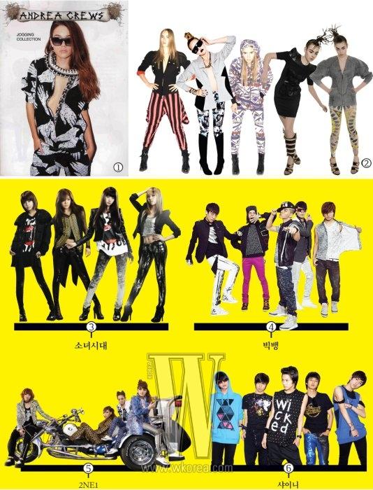 1. 프린트가 돋보이는 안드레아 크루의 2010 S/S 컬렉션.2. 코콘 투 자이와 헬즈 벨즈(왼쪽에서 두번째 룩만) 룩에서 레이디 가가나 2NE1의 스타일을 엿볼 수 있다.3. 최근 신곡'Run Devil Run'을 발표하며 기존의 로맨틱한 분위기를 탈피해 록시크 무드가 깃든 스트리트 캐주얼을 선보이는 소녀시대.4. 오늘날 아이돌 패션을 변화시킨 8할의 힘을 가진 빅뱅. 최신 브랜드를 믹스 매치하는 그들의 스타일링 감각은 아시아를 비롯해 미국 블로거들 사이에서도 관심을 모은다.5. 최근 선보인 뮤직 비디오' 날 따라해봐요'에서 폭주족으로 분한 2NE1 멤버들이 입은 의상도 신진 브랜드가 대부분이다.6. 신진 디자이너 브랜드를 두루 소화하며 편안하면서도 감각적인 스트리트 캐주얼 룩을 선보이는 샤이니.