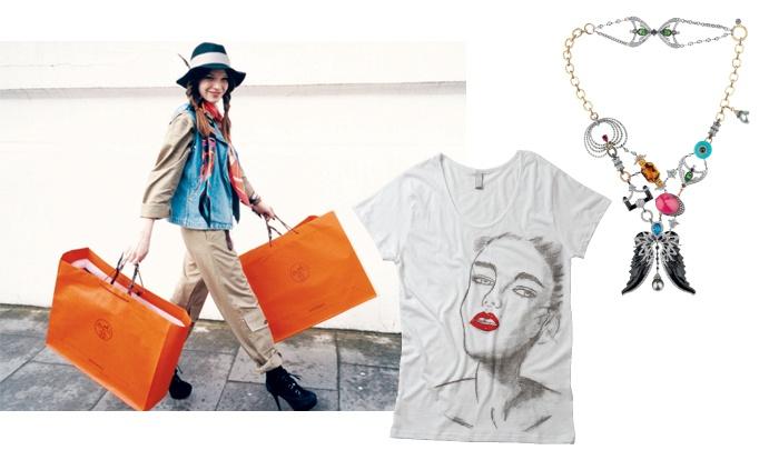 (위)다미아니와 협업한 존 갈리아노 목걸이. (아래)'나는 스카프를 사랑해'의 감각적인 비주얼. 메이크업 아티스트 원조연의 일러스트를 프린트한 티셔츠.