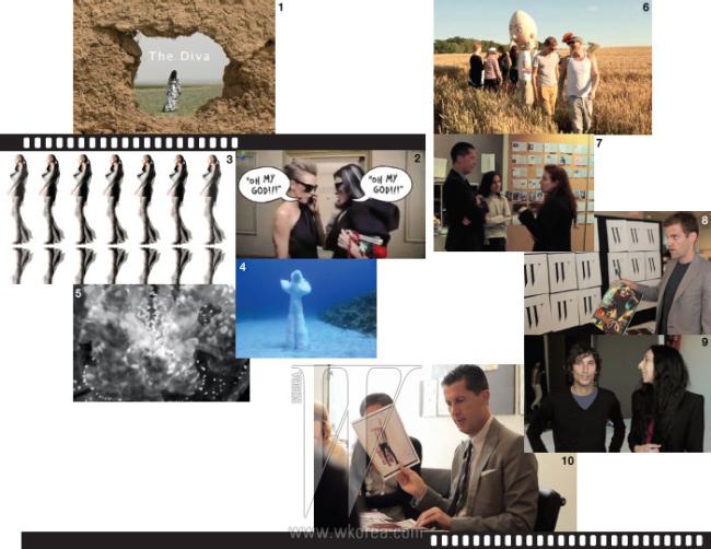 1. 비타 파야지가 과거의 기억을 이미지화한 다큐멘터리 '디바'. 2. 알버 엘바즈의 유머러스한 감성이 담긴 랑방과 H&M의 컬래버레이션 영상.3. 가레스 퓨와 루스 호벤 감독이 제작한 2011 S/S 컬렉션 영상. 4. 유년의 기억과 느낌을 바닷속에서 유영하는 오브제로 표현해낸 니콜라스 줄리어드의'하이드로파일'. 5. 다이앤 폰 퍼스텐버그의 컬렉션에서 영감 받아 제작한 엘르 뮬리아시크의 '메타모포시스'. 6. 10월호를 위해 사진가 팀 워커와 제작한 화보' Where troubles melt like lemon drops' 촬영 비하인드신. 7. 팀원들과 진지하게 배열을 구상 중인 스테파노 통키. 8. 의 디자인 디렉터 조지프 로건이 새롭게 변형된 로고에 대해 설명하고 있다. 9. 10월호 화보와 커버 촬영을 진행한 사진가 이네즈 판 람스베이르더와 피노트 마타딘. 10. 편집팀과 디자인팀이 모인 회의실에서 의견을 공유하고 있는 스테파노 통키.