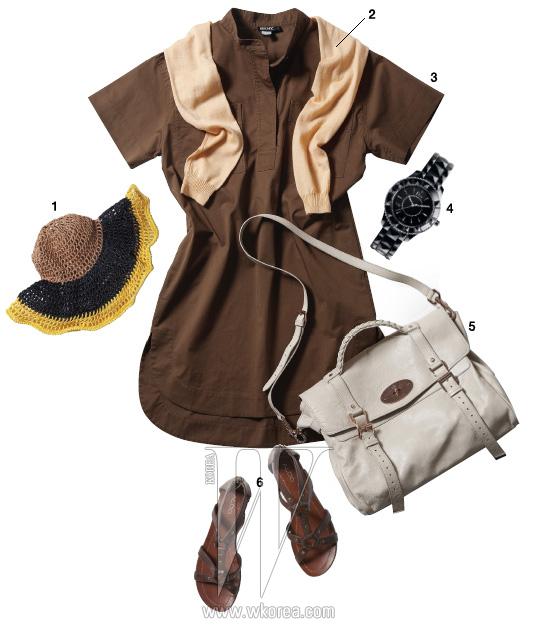 1 성근 짜임과 배색이 돋보이는 모자는 마우리지오 페코라로 제품. 1백32만원. 2 어깨에 걸친 연분홍 카디건은 시스템 제품. 20만원대. 3 면 소재 셔츠 드레스는 DKNY 제품. 69만5천원. 4 세라믹 소재의 크로노그래프 시계는 디올 제품. 가격 미정. 5 스트랩 장식의 알렉사 백은 멀버리 제품. 1백만원대. 6 글래디에이터 스타일의 플랫 샌들은 알도 제품. 11만8천원.