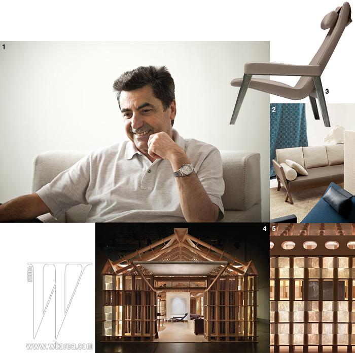 1 디자이너이자 건축가인 안토니오 치테리오 2 치테리오가 에르메스와 함께 선보인 마티에르 컬렉션 소파 3 마티에르 컬렉션의 독서용 의자 4 건축가 시게루 반과 장 드 가스틴이 설계한 에르메스 전시관 5 에르메스 전시관의 디테일
