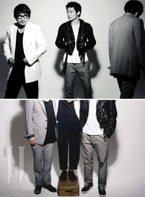 민용근이 입은 그레이 수트는 앤.헐리우드 by 에크루, 검은 티셔츠는 코데즈컴바인 베이직플러스, 물방울무늬 행커치프는 마크어웨어 by 에크루 제품. 윤성현이 입은 검은 가죽 재킷은 버버리 프로섬, 흰색 티셔츠는 코데즈컴바인 베이직플러스, 회색 체크 팬츠는 코데즈컴바인 포맨 제품. 박정범이 입은 화이트 재킷은 곽현주 컬렉션, 검은 티셔츠는 코데즈컴바인 베이직플러스, 검은 팬츠는 엠비오, 안경은 린다페로우 by 한독 제품.