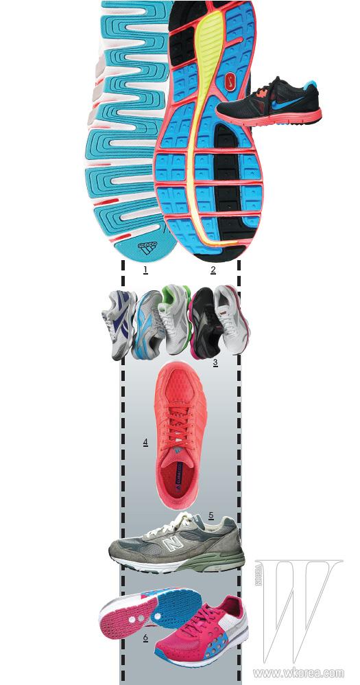 위부터 순서대로 | 1 밑창과 안창에 클라이마쿨 소재를 사용해 통기성을 높인 아디다스. 12만9천원. 2 지지력을 지닌 안정적인 핏으로 러닝 도중 탄력적인 방향 전환을 돕는 루나글라이드 3 러닝화는 나이키 제품. 가격 미정. 3 밑창에 부착된 첨단 밸런스 파드(Balance Pod)로 근육을 활성화해 운동 효과를 높이는 런톤 슈즈는 리복 제품. 가격 미정. 4 러닝화 안의 습도를 줄이고, 발이 온도를 낮춰주는 소재의 클라이마쿨 라이드는 아디다스 제품. 12만9천원. 5 부드러운 쿠셔닝으로 착용감이 뛰어난 993시리즈의 러닝화는 뉴발란스 제품. 23만9천원. 6 날아갈 듯 가벼운 착용감을 안겨주는 초경량 러닝화인 파스 300은 푸마 제품. 9만9천원.