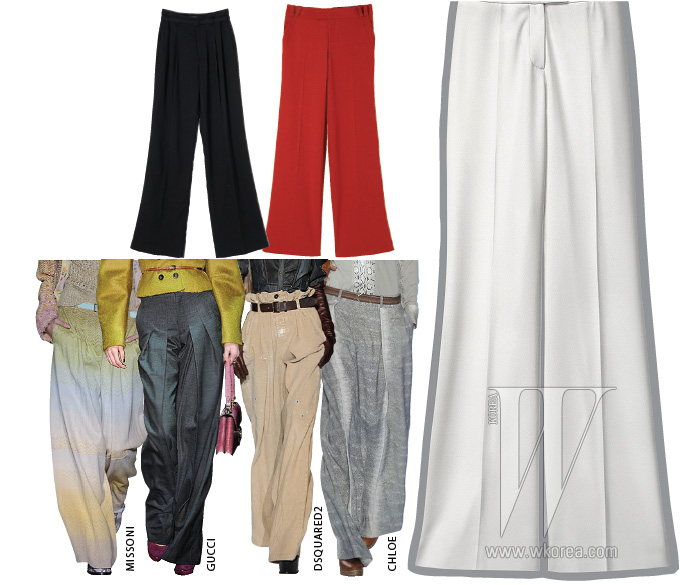 위 왼쪽부터ㅣ핀턱 장식이 더욱 풍성한 볼륨을 만드는 팬츠는 랄프 로렌 제품. 가격 미정. 붉은 색감이 돋보이는 팬츠는 구찌 제품. 가격 미정.아래 | 주름 장식의 팬츠는 H&M 제품. 가격 미정.