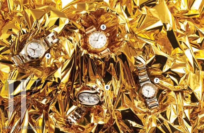 4 로즈 골드와 스틸이 어우러진 곡선의 케이스와 브레이슬릿이 돋보이는 리네아 크로노그래프 워치는 보메 메르시에 제품. 가격 미정. 5 다이아몬드 장식의 인덱스가 고급스러운 18캐럿 로즈골드 소재의 레이디매틱 워치는 오메가 제품. 3천만원대. 6 트위스트 된 타원형의 디자인이 독창적이며, 사파이어 세팅의 크라운, 검 모양의 블루 스틸 핸즈로 이루어진 델리스 드 까르띠에 워치는 까르띠에 제품. 3천만원대. 7 핑크 루벨라이트 소재의 크라운 장식이 고급스러운 핑크 골드와 스틸 소재가 콤비로 이루어진 뉴 불가리 불가리 워치는 불가리 제품. 8백만원대.