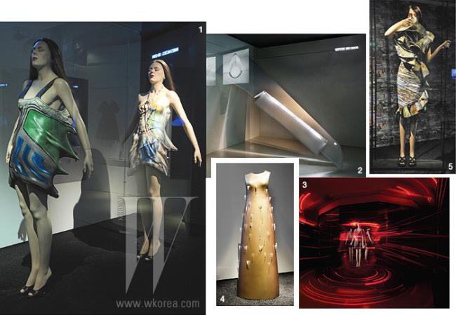 1. 속도와 충돌을 주제로 한 2009 S/S 컬렉션. 2. 빛을 주제로 만든 그의 설치 작품. 3. 레이저 빔을 쏘는 드레스를 선보인 2008 S/S 컬렉션. 4. 조명을 설치해 예술 작품처럼 전시한 드레스. 5. 드라마틱한 러플이 시선을 압도하는 2004 F/W 컬렉션.
