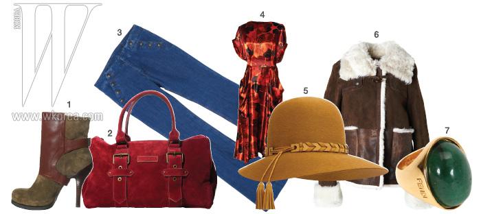 1|날렵한 실루엣의 스웨이드 소재 앵클 부츠는 나인웨스트 제품. 33만9천원. 2|그윽한 빨간색이 아름다운 버클 장식의 토트백은 롱샴 제품. 1백만원대. 3|주머니의 버튼 장식이 독특한 와이드 데님 팬츠는 꽁뜨와 데 꼬또니에 제품. 30만원대. 4|화려한 플로럴 프린트가 아름다운 드레스는 H&M 제품. 11만9천원. 5|70년대 룩의 낭만을 더해주는 플로피 햇은 에르메스 제품. 1백90만원대. 6|투박한 실루엣이 오히려 세련된 무통 코트는 에스까다 제품. 1백20만원대. 7|빈티지한 느낌의 볼드한 반지는 펜디 제품. 35만원.