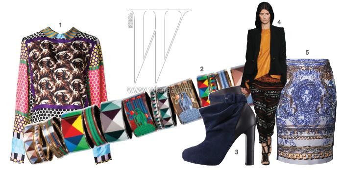 1|마치 스카프를 이어놓은 듯 화려한 패턴이 아름다운 실크 블라우스는 마르니 제품. 가격 미정. 2|브랜드의 다채로운 아카이브 패턴을 이용한 뱅글 시리즈. 모두 에르메스 제품. 60~80만원대. 3|우아한 주름 장식과 버클이 어우러진 네이비 색상의 앵클부츠는 에르메스 제품. 1백90만원대. 4|모던 에스닉 룩의 정답을 보여준 프로엔자 스쿨러 컬렉션. 5|바로크풍의 화려한 패턴이 아름다운 니렝스 스커트는 마인 제품. 42만5천원.