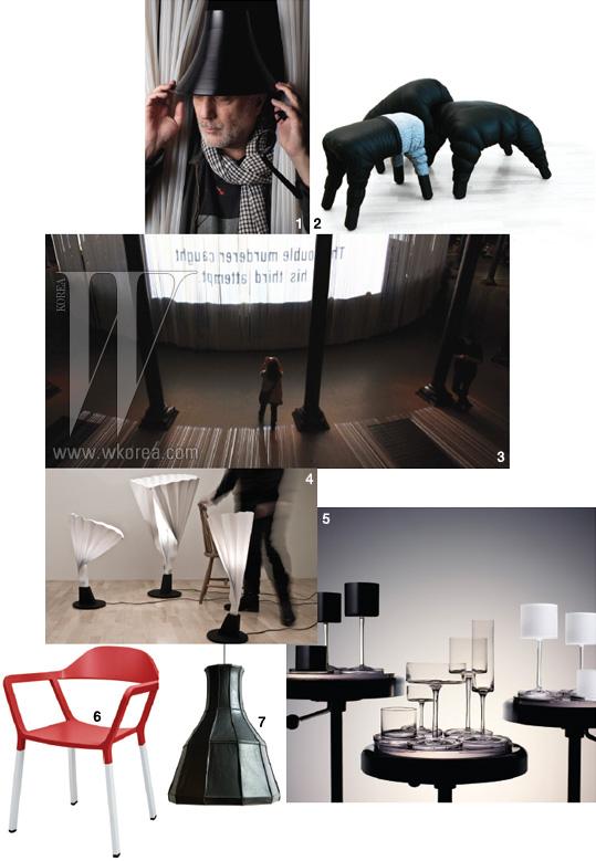1. 디자인 메달을 수상한 론 아라드 2. 스웨덴의 브랜드와 디자이너들의 제품 전시는 주영 스웨덴 대사의 자택에서 열렸다. 그 가운데 프레데릭 페리의 의자. 3. 메달을 수상한 론 아라드의 커튼콜 전시 4. 스웨덴 디자이너 엠마 블랑슈의 조명. 5. 칼 라거펠트가 디자인한 샴페인 잔. 6. 스웨덴 디자인 스튜디오 요한슨 디자인의 의자. 7. 네덜란드 디자이너 페페 헤이쿱이 자투리 가죽을 이용해 만든 업사이클 디자인 조명인 스킨 컬렉션.