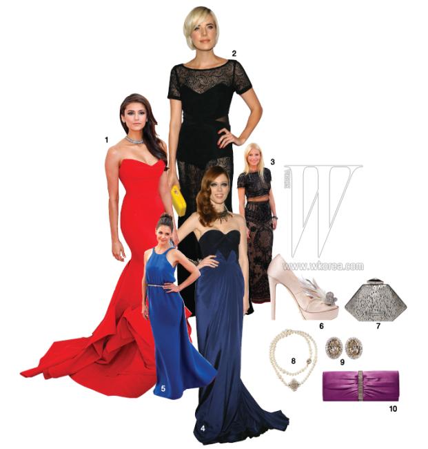 1. 극적인 볼륨감이 아름다운 붉은색 머메이드 드레스 차림의 니나 도브레브. 2. 레이스 소재로 은근히 글래머러스함을 뽐낸 아기네스 딘. 3. 속이 비치는 것처럼 안감이 살색으로 된 드레스를 입고 등장한 귀네스 팰트로. 4. 헤어, 메이크업, 주얼리의 조화가 멋진 코코 로샤. 5. 스포티한 어깨 패턴과 시원한 색감이 돋보인 드레스 차림의 케이트 홈스. 6. 깃털 장식 펌프스는 디올 제품. 가격 미정. 7. 조형적인 디자인이 멋진 클러치는 아도포 도밍구에즈 제품. 30만원대. 8. 길이를 조절하여 다양하게 연출할 수 있는 진주 목걸이는 스타일러스 by 골든듀 제품. 27만9천원. 9. 주얼 장식 귀고리는 스타일러스 by 골든듀 제품. 7만9천원. 10. 우아한 새틴 클러치는 랑카스터 제품. 가격 미정.