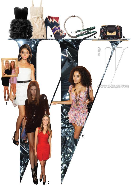1. 프릴 장식 드레스는 H&M 제품. 5만9천원. 2. 주름 장식 시폰 드레스는 H&M 제품. 가격 미정. 3. 펄 장식의 오픈토 부티는 크리스찬 루부탱 제품. 1백97만원. 4. 진주와 주얼 장식이 우아한 목걸이는 제이 에스티나 제품. 37만9천원. 5. 광택이 돋보이는 벨트는 랑카스터 제품. 가격 미정. 6. 화려한 스팽글 장식의 미니 클러치는 루이 비통 제품. 가격 미정.  7. 더욱 어려보이는 흰색 미니드레스 차림의 사라 하이랜드. 8. 개구진 표정 의 캐롤리나 쿠르코바와 안나 델로 루소. 9. 스팽글 장식으로 화려함을 더한 안드레아 스탠쿠. 10. 실루엣이 돋보이는 레드 드레스 차림의 줄리아 허드슨. 11. 꽃 프린트 드레스가 여성스러운 파티 피플.