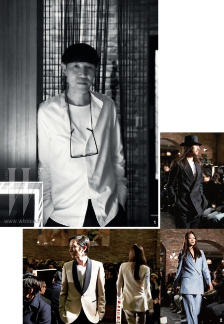 1. 자신의 시그너처 룩을 입은 디자이너 김서룡. 2. 김서룡 옴므의 2012 S/S 컬렉션.
