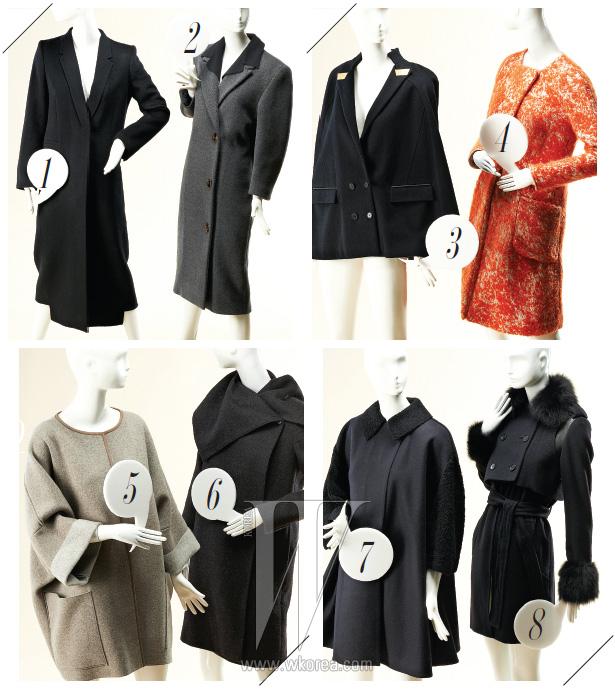 1. 헴라인을 다르게 연출한 검정 맥시 코트는 듀메이드 제품. 95만8천원. 2. 2.어깨에 패드를 덧댄 오버사이즈 코트는 미우미우 제품. 가격 미정. 3. 메탈 장식 라펠과 깊은 브이 네크라인이 모던한 검정 케이프는 쟈니헤이츠재즈 제품. 가격 미정. 4. 여성스러운 실루엣의 짙은 오렌지색 코트는 보테가 베네타 제품. 가격 미정. 5. 넉넉한 실루엣이 돋보이는 회색 캐시미어 코트는 아뇨나 제품. 가격 미정. 6. 넓은 칼라를 다양하게 연출할 수 있는 여성스러운 코트는 막스마라 제품. 3백58만원. 7. 7.동그란 코쿤 실루엣이 여성스러운 남색 코트는 발리 제품. 3백30만원. 8. 여우털과 가죽 소재가 믹스된 벨티드 코트는 스티브J & 요니P 제품. 1백58만원.