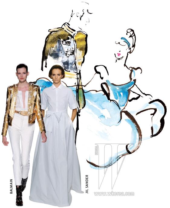 질 샌더 컬렉션의 피날레를 장식한 화이트 드레스는 21세기 식 신데렐라의 무도회 드레스로 손색이 없다. 올리비에 루스테인의 발맹 데뷔 쇼는 세련된 프린스 룩. 하이웨이스트 스키니 팬츠와 위풍당당한 어깨선을 한껏 강조한 금빛 재킷은 동화 속 왕자님의 모습 그 자체!