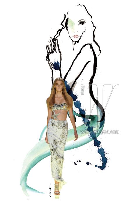 바닷속 정경을 관능적으로 표현한 베르사체 컬렉션의 막바지에 등장한 브라톱과 맥시 드레스는 불가사리, 해마 등 바닷속 생물을 모티프로 한 장식으로 인어공주 룩을 표현했다.