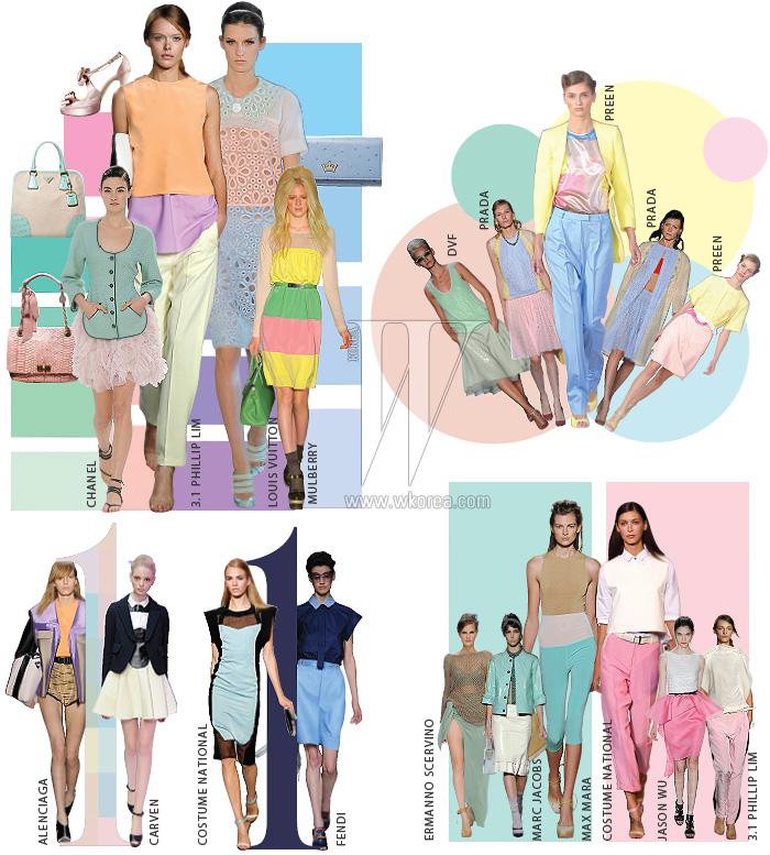 오른쪽부터 시계 반대 방향으로 | 하늘색 장지갑은 제이 에스티나, 분홍색 핸드백은 랑방 컬렉션, 민트색이 섞인 토트백은 프라다, 연한 분홍색 슈즈는 페르쉐 제품.