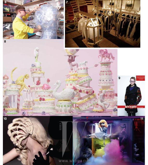 6. 아틀리에에서 작업물을 살펴보는 게리 카드. 7. 런던의 디자인 뮤지엄이 선정한, 2012 올해의 디자인-패션 부문에후보로 오른 콘셉트 스토어 LN-CC의 내부 전경으로 게리 카드가 디자인했다. 8. 최근  매거진에 선보인, 케이크와 아이스크림에서 영감을 얻은 파스텔 톤의 세트 디자인. 9. 한국 디자이너 우영미와 협업한 'My Coat, My Gift' 작업. 우영미의 코트를 리디자인한 것으로 런던 셀프리지 백화점의 팝업 스토어에 전시를 한 뒤, 트위터 경매를 통해 채러티를 진행하기도 했다. 10. 게리 카드가 제작한 본 마스크를 쓴 레이디 가가. 쇼 스튜디오의 닉 나이트와 루스 호벤 듀오가 작업한 'Bone Tattoo' 영상에 등장하기도 했다. 11.  매거진을 위해 닉 나이트, 다이노스 채프먼과 협업한 인형 작업.