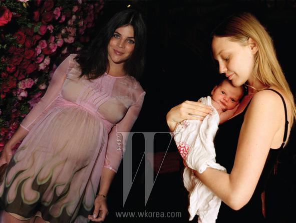 왼쪽 | 만삭의 몸으로 파티에 참석한 줄리아 레스토잉 로이펠드. 오른쪽 | 사랑스러운 엄마와 딸, 샤샤 피보바로바.