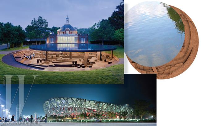 아티스트 아이 웨이웨이와 듀오 건축가 헤르조그 앤 드 뫼론이 협업한서펜타인 갤러리 파빌리온. 아래는 그들이 함께 작업했던 베이징 올림픽 주경기장.