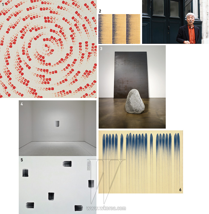 1,2. 이우환의 대표적 회화 연작 가운데 3. 2009년 국제갤러리에서 전시한 설치 작업 4. 2011년 구겐하임 갤러리, 벽에 직접 페인팅한 5. 6.
