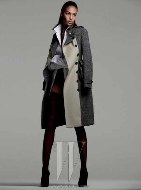 홈스펀과 개버딘 소재가 어우러진트렌치코트는 Burberry Prorsum,클래식한 남성용 화이트 셔츠는 Burberry,하이웨이스트 팬티는Kiki De Montparnasse,밴드 스타킹은 Falke, 실버 체인목걸이는 David Yurman 제품.