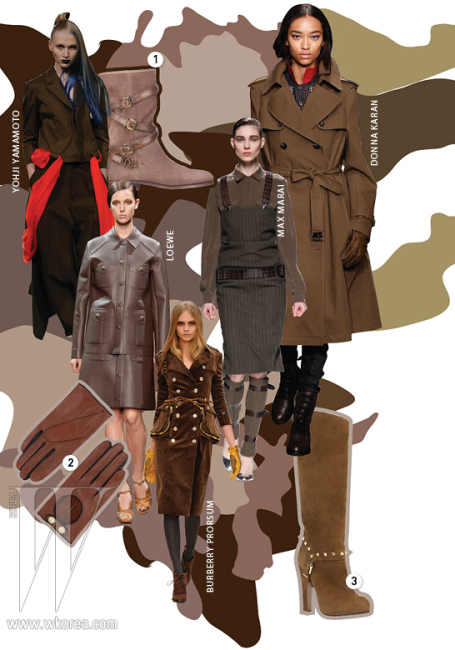 1. 가죽 스트랩 장식의하프 부츠는 디올 제품.2. 부드러운 가죽 장갑은테드 베이커 제품.3. 스터드 장식이 돋보이는롱 부츠는 발렌티노 제품.