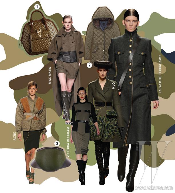 1. 큼직한 퀼팅 장식토트백은 버버리 제품.2. 방한 기능이 뛰어난퀼팅 재킷은 마시모 듀티 제품.3. 조형적인 형태가 돋보이는벨트는 펜디 제품.