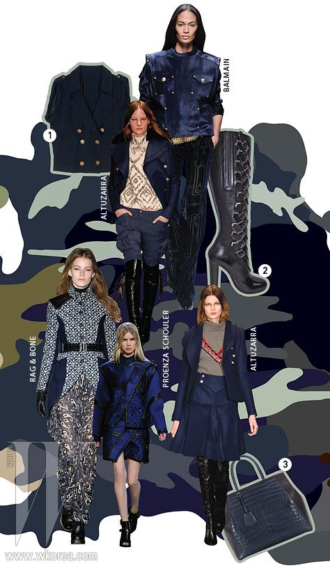 1. 버튼 장식이돋보이는 재킷은 올리브데 올리브 제품.2. 곡선의 형태와 버클장식이 돋보이는 부츠는크리스찬 루부탱 제품.3. 악어 가죽토트백은 펜디 제품.