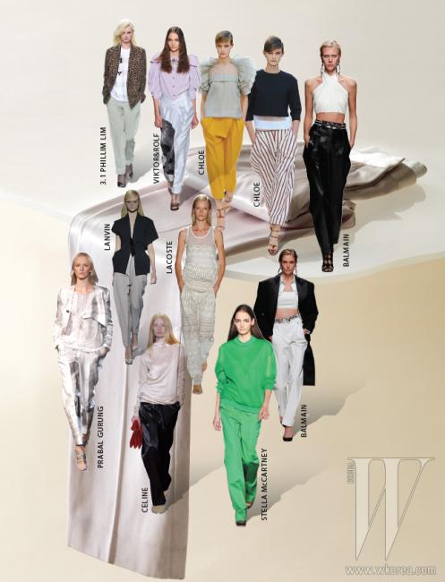 부드러운 색감과여유로운 실루엣이돋보이는실크 팬츠는셀린 제품. 가격 미정.