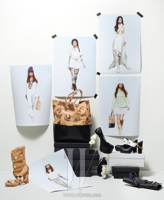 2013 S/S KYE 대담한 프린트와 장식이어우러진카이 X 젬마 양의슈즈와 가방 컬렉션.