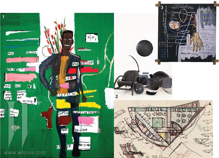 1. 장-미셸 바스키아'Desmond'2. 론 아라드의 의자,테이블, 스피커, 램프, 마크스탬의 암체어,찰스&레이 임스의 암체어 등3. 장-미셸 바스키아'Untitled(Hand-Anatomy)'4. 정기용의 울산어린이 도서관 스케치