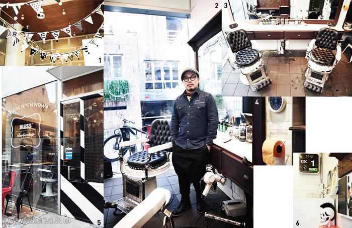 1 천장을 채운 블레스 이니셜 장식. 2 100년 전 의자 옆에서포즈를 취한 예원상. 3 맞춤 제작한 테이블과 빈티지 의자.4 형광색 휴지와 유니크한 시계가 블레스의 분위기를 말해준다.5 모던한 숍 입구. 6 해골 장식과 디지털 시계가 조화로운 숍 한켠 .