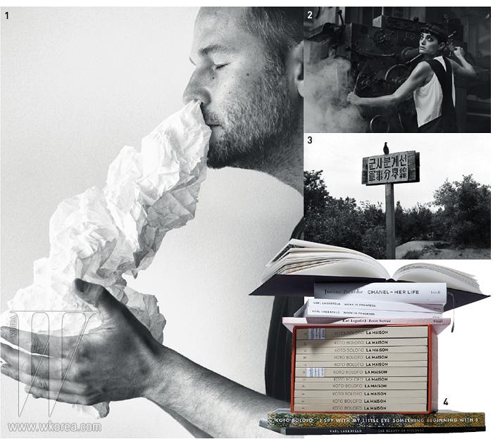 1. 슈타이들 출판사에서 펴낸 'Paper Fashion'에 삽입된 이미지 2. 피터 린드버그 'Lynne Koester'3. 크리스 마커 'Koreans-Untitled' 4. 슈타이들 출판사의 책들