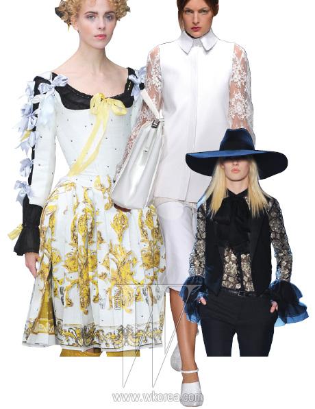 왼쪽부터 | 팔 전체를리본으로 촘촘하게 장식,왕정 시대의 호화로운드레스를 연상시키는미담 키르초프의 드레스,시스루 소재의 레이스로소매를 로맨틱하게연출한 PORTS 1961,레이스로 소매를장식하고 커프스부분을 풍성한 러플로연출한 생로랑.