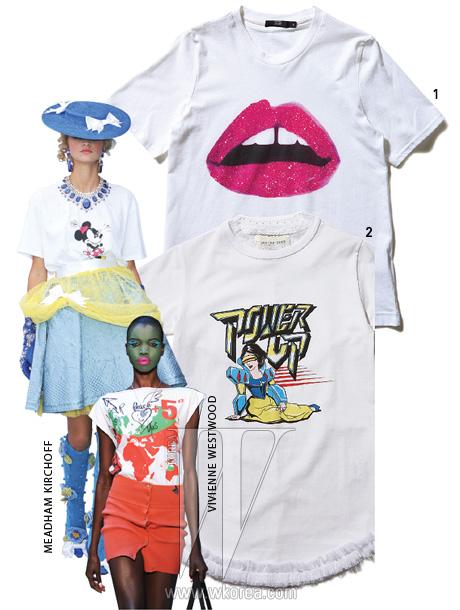 1. 입술을 형상화한 티셔츠는 마커스 루퍼 by 톰그레이 하운드 제품.19만원. 2. 디즈니 캐릭터를 재치있게 표현한 티셔츠는 그라운드제로 by 쿤 제품. 30만원대.