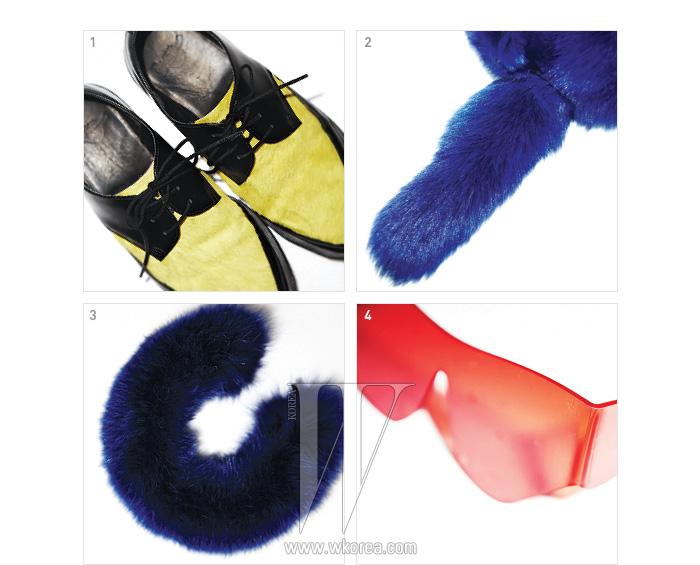 1. 색감이 돋보이는 송치 소재 옥스퍼드 슈즈는 빅박 제품.2,3. 동물의 꼬리를 연상시키는 퍼 머플러와 미래적 형태의 선글라스는 신장경 제품. 4. 탐스러운 여우털 머플러는 빅박 제품.