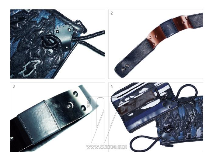 1,3. 패치워크와 고무 스트랩이 인상적인 클러치, 2,4.  메탈과 가죽 장식의 뱅글은 모두 루비나 제품.