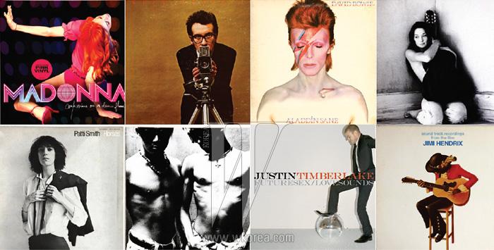 왼쪽부터 | Madonna  (2005) + 김예림, Elvis Costello  (1978) + 엘(인피니트), David Bowie  (1973) + 장기하, Carla Bruni  (2003) + 장윤주, Patti Smith  (1975) + 조원선, Deux  (1996) + 테이스티, Justin Timberlake  (2006) + 이이언, Jimi Hendrix  (1973) + 조정치