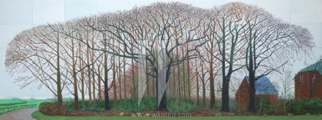 """데이비드 호크니 '와터 근처의 더 큰 나무들 또는 새로운 포스트 - 사진 시대를 위한 모티브에 관한 회화', 2007 50개의 캔버스에 유채 (각 36 x 48"""")"""