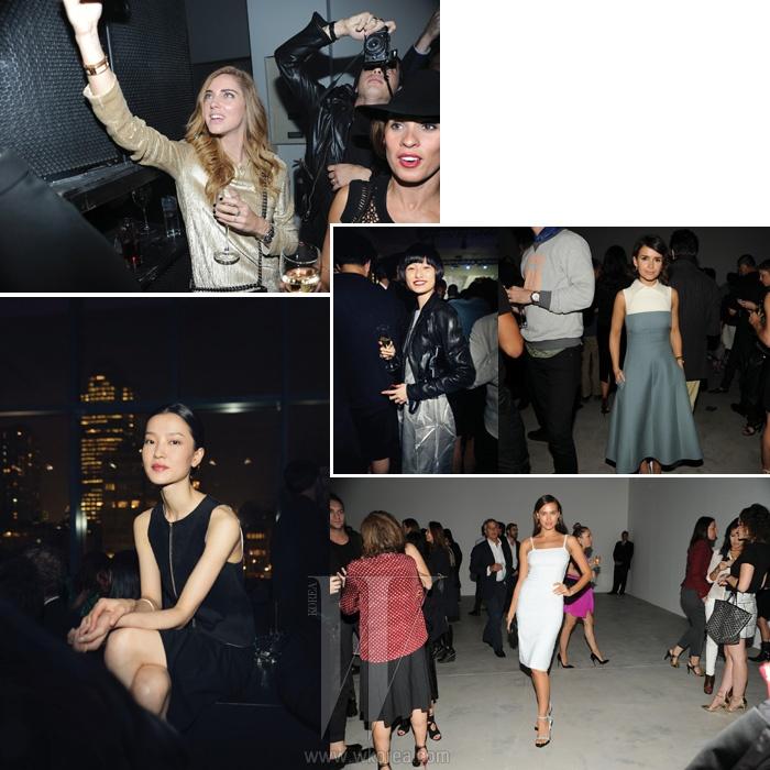 (왼쪽부터) 열심히 촬영을 하며 파티를 즐기는 이탈리아 출신의 패션 블로거 키아라 페라니, 세련된 중국 모델을 대표하는 얼굴, 두 주앙, 발랄한 모습으로 파티장을 누비던 모델 왕 샤오, 탁월한 스타일링으로 수많은 사진가들을 이끌고다니는 러시아 출신의 패셔니스타 미로슬라바 듀마, 축구 스타 호날두의 연인으로도 유명한 모델 이리나 샤크.