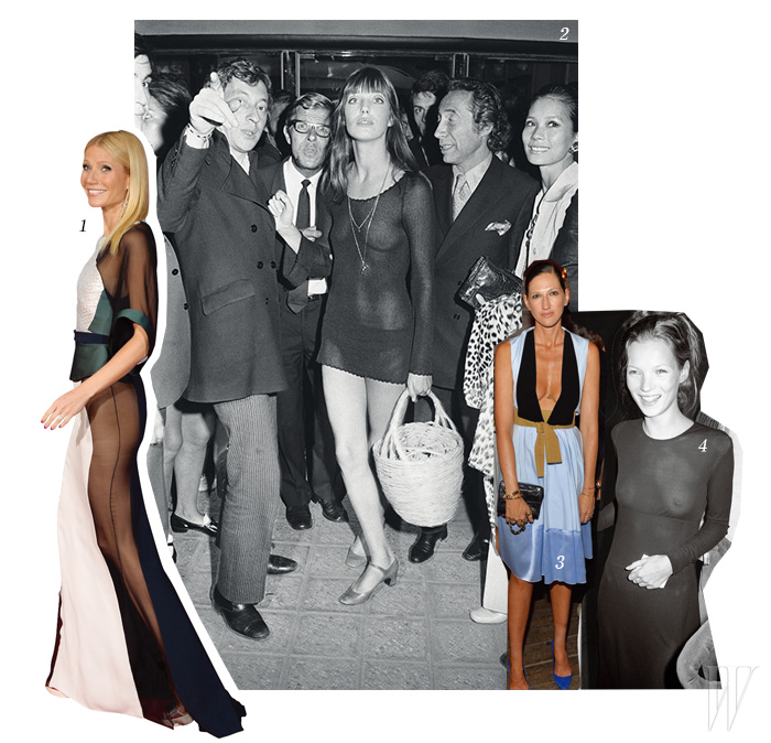 1. 사이드버트라는 신조어를 탄생시킨 귀네스 팰트로의 파격적인 드레스 룩. 2. 1969년 가슴을 그대로 노출한 제인 버킨. 3. 노브라를 즐기는 제이크루의 제나 라이언스. 4. 1993년 뉴욕에서 19세 생일 파티를 즐기고 있는 케이트 모스의 시스루 룩.