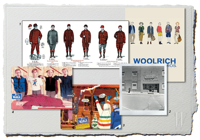 1. 1850년에 처음으로 생산된 울리치의 대표적인 패턴, 버펄로 체크. 2. 1887년에 촬영된 울리치 최초의 공장. 3. 일러스레이터 필리포 스코자리의 1986, 1987년 울리치 일러스트. 4. 1987, 1988년의 카탈로그.