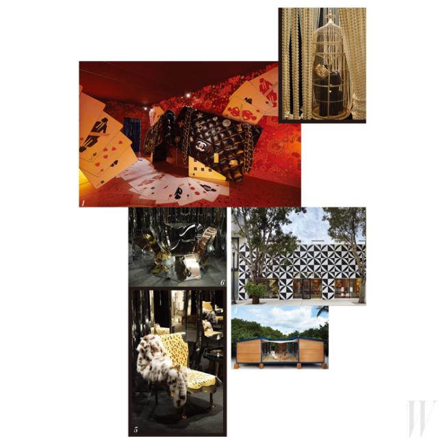 1,2. 거대한 샤넬 백, 진주 새장 등 드라마틱한 공간을 연출한 샤넬의 루메로 프리베. 3,4 마이애미의 루이 비통 매장과 모던한 모습의 물가 위의 집. 5. 조형물과 함께 설치된 펜디의 의자와 퍼. 6. 펜디와 협업한 마리아 퍼게이의 작품.