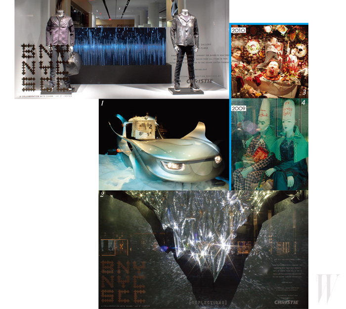1. 산타 클로스의 썰매를 미래적으로 재해석한 오브제. 여기에 올라타면 뉴욕 시내를 떠도는 듯한 가상의 화면이 눈 앞에 펼쳐진다.2. 빙석이 거꾸로 매달려 있는 듯한 디스플레이는 수많은 거울로 이루어져 있는데 여기에 크리스티의 프로젝션으로 빛을 쏘아서 시시각각 변하는 쇼윈도를 연출했다. 3. 음식을 테마로 한 2010년의 윈도 디스플레이.4. SNL 35주년을 기념한 2009년의 협업 윈도 디스플레이.