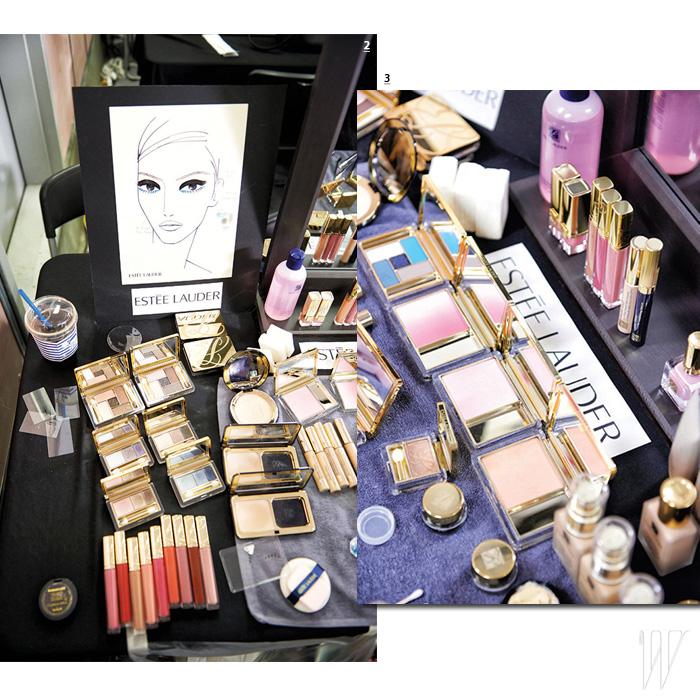 2. 미스지콜렉션 백스테이지의 모든 것이 한 장에 표현된 페이스 차트. 3. 미스지콜렉션에 사용된 에스티 로더 색조 제품들.