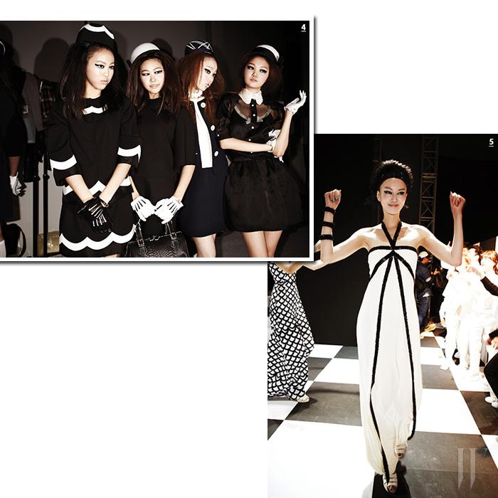 4. 메인 컬러인 블랙&화이트 룩을 입은 모델들. 비즈 장식의 장갑과 화려한 모자는 완벽한 스타일링을 만든 일등공신이었다. 5. 라이닝이 돋보이는 우아한 롱 드레스를 입고, 춤을 추듯 워킹하는 모델 이혜정.