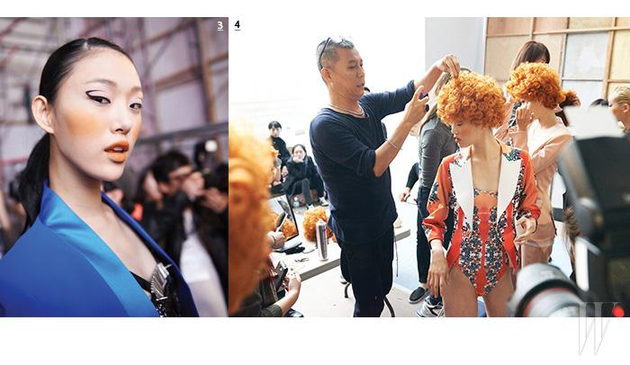 3. 언제나 에너지가 넘치는 모델 최소라. 4. 모델들의 사랑스러운 컬리 헤어는 서울 패션위크 백스테이지의 숨은 공헌자, 헤어 스타일리스트 오민 원장의 아이디어.