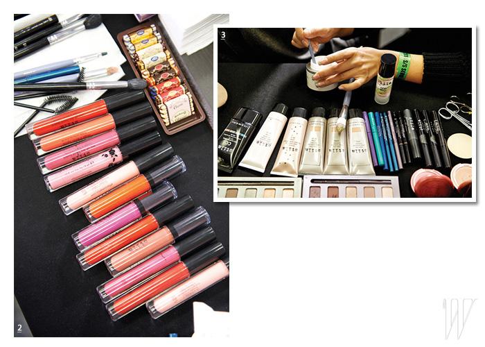 2. 스틸라의 립 컬러들은 선명한 발색과 매끈한 광택을 보여준다. 3. 결점 없이 은은하게 빛이 감도는 피부 표현을 위해 준비된 스틸라의 베이스 제품들.