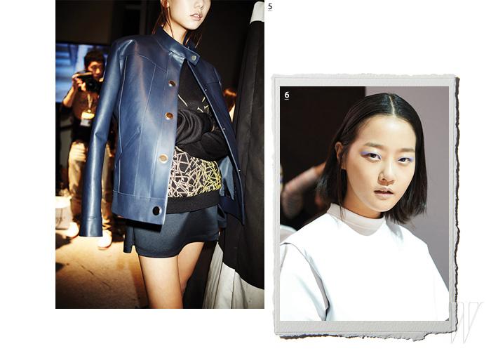 5. 매끈한 가죽 재킷과 캐주얼한 스웨트 셔츠의 매치로 동시대적인 스트리트 감각을 선보인 룩. 6. 런웨이 출격을 기다리는 톱모델 강승현.